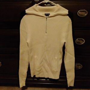 Shawl collar, quarter zip sweater
